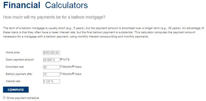 template balloon loan calculator