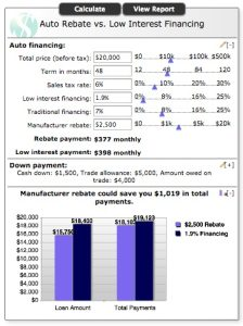 Auto Rebate vc Low Interest Financing - BB&T Calculator