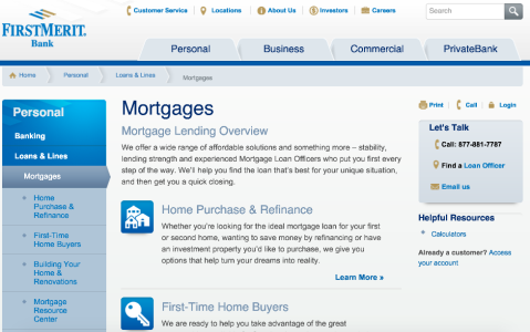 FirstMerit Mortgage Homepage